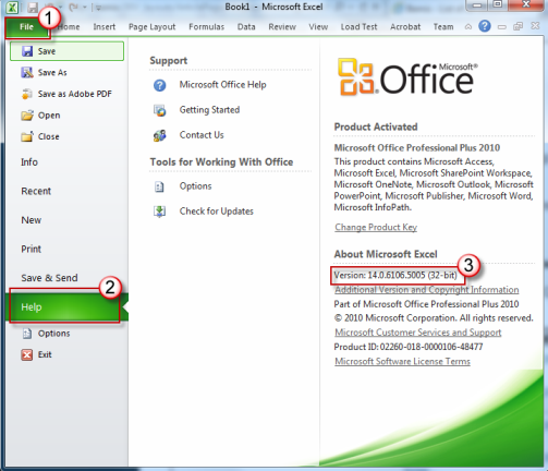 De versie van office vinden in het rechterdeelvenster.