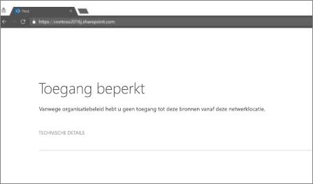 Bericht over beperkte toegang in browser