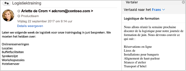 Dit bericht is met de invoegtoepassing Translator voor Outlook vertaald van het Engels naar het Frans