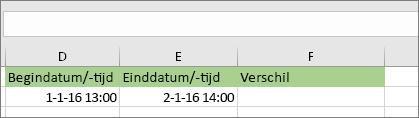 Begindatum van 1/1/16 1:00 PM; Einddatum van 1/2/16 2:00 PM