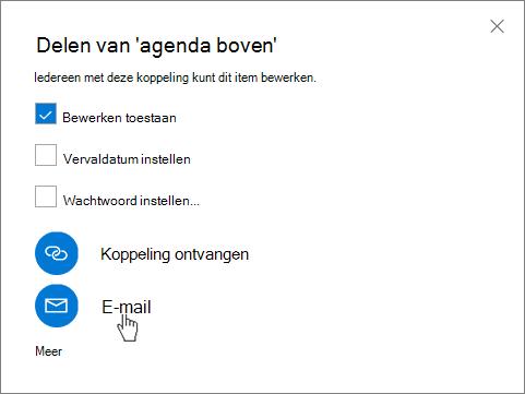 Schermafbeelding van het selecteren van e-mail in het dialoogvenster Delen in OneDrive