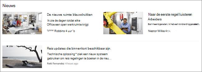 Screencap van het webonderdeel Nieuws van een SharePoint-site, waar de berichten zijn gefilterd
