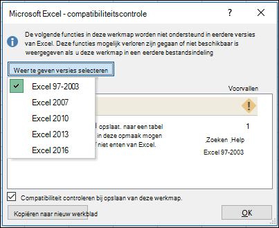 Dialoogvenster compatibiliteitscontrole voor Excel