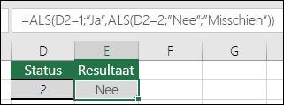 """Gebruik """""""" om te controleren op een lege cel – De formule in cel E3 is =ALS(D3="""""""";""""Leeg"""";""""Niet leeg"""")"""