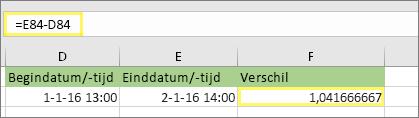 = E84-D84 en resultaat van 1,041666667