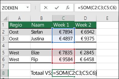 SOM gebruiken met niet-aaneengesloten bereiken.  De formule in cel C8 is =SOM(C2:C3;C5:C6). U kunt ook benoemde bereiken gebruiken. De formule wordt dan =SOM(Week1;Week2).