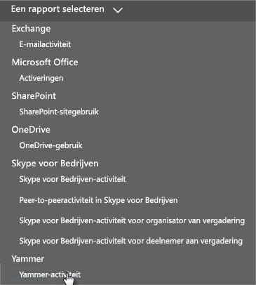 Schermafbeelding van het menu Een rapport selecteren in het Office 365-dashboard Rapporten