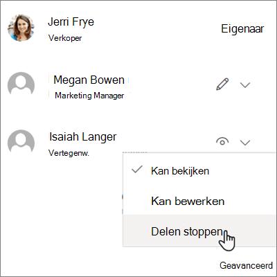Schermafbeelding van het niet meer delen met één persoon in OneDrive voor bedrijven