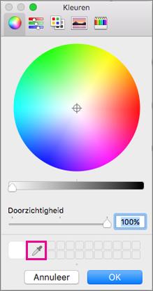 Pipet in het vak kleuren