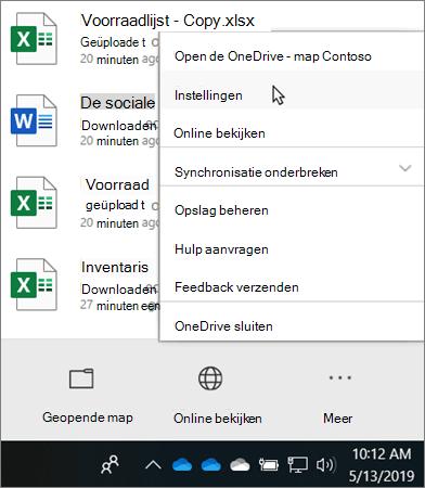 Het menu activiteiten centrum dat wordt weergegeven wanneer u op het pictogram voor het onderwijs OneDrive van OneDrive klikt
