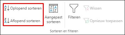 Knoppen voor oplopend of aflopend sorteren op het tabblad gegevens