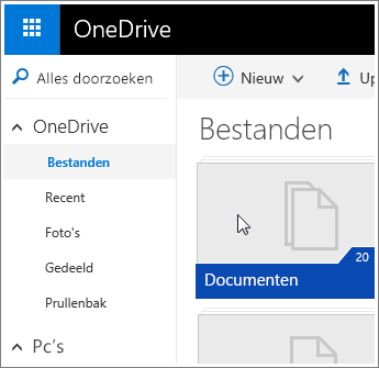 Schermafbeelding van de map Documenten in OneDrive.
