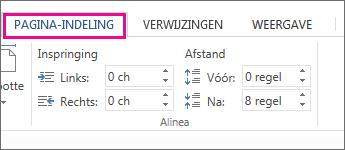 afbeelding van de opties voor inspringing en afstand op het tabblad pagina-indeling
