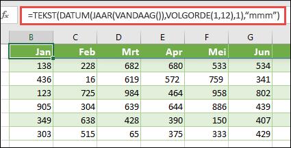 Een combinatie van de functies tekst, datum, jaar, vandaag en volgorde gebruiken om een dynamische lijst van 12 maanden samen te stellen