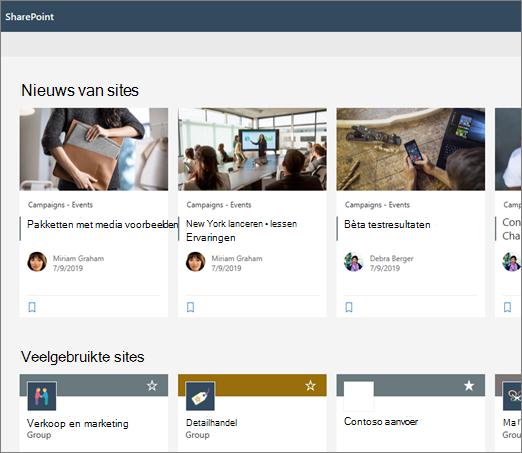 Nieuws op de startpagina van SharePoint
