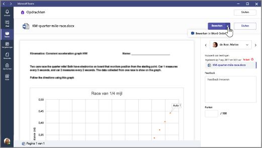 Selecteer de pijl-omlaag naast de knop Bewerken en selecteer vervolgens Bewerken in Word Online.