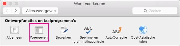 Klik in Word-voorkeuren op Weergave om de weergavevoorkeuren te wijzigen.