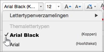Opties voor lettertypen van het tabblad Start