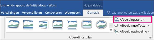 De optie Afbeeldingsrand is gemarkeerd op het tabblad Opmaak van Hulpmiddelen voor afbeeldingen.