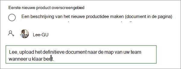 Een opmerking invoeren in de details van een taak in planner