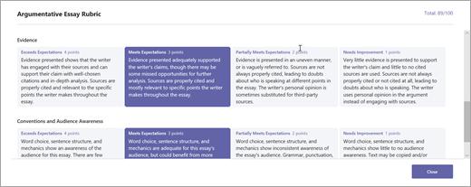 Weergave van feedback in een rubriek voor studenten of leerlingen.