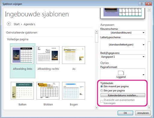 Locatie voor wijzigen of instellen van kalenderdatums.