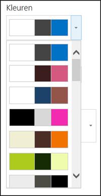 Schermafbeelding van het menu met kleurkeuzen op een nieuwe SharePoint-site