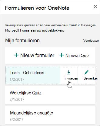 Lijst met formulieren in het deelvenster Formulieren voor OneNote