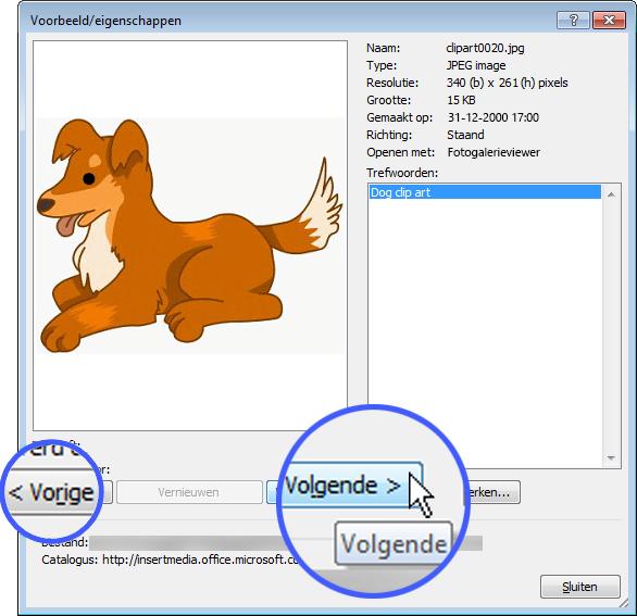 Blader door de afbeeldingen door de knoppen Vorige en Volgende in het dialoogvenster Voorbeeld/eigenschappen te selecteren.