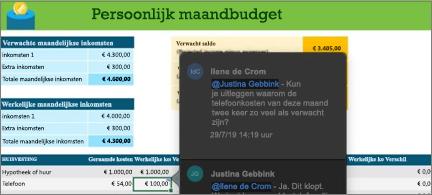 Budgetwerkblad met een gespreksthread tussen twee medewerkers
