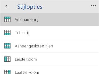 Schermafbeelding van het menu Stijlopties met de optie Veldnamenrij geselecteerd.