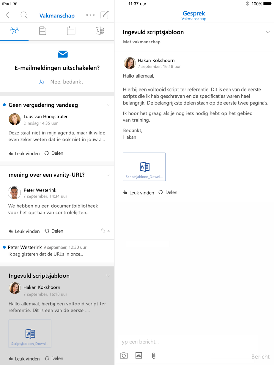 Discussieweergave in Outlook groepen voor iPad