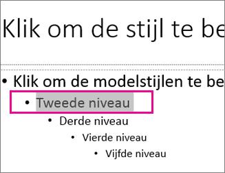 Diamodelindeling met tekst op tweede niveau geselecteerd