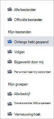 Lijst met bestandslocaties