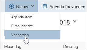 Schermafbeelding van het menu Nieuw met de cursor op de optie voor verjaardag