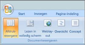 Schermafbeelding ziet u de groep documentweergaven met de ingeschakelde optie voor de afdrukweergave. Andere opties die beschikbaar zijn lezen in volledig scherm, webindeling, overzicht en concept.