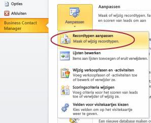 De opdracht Business Contact Manager-recordtypen in de weergave Backstage van Outlook aanpassen