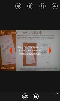 afbeelding van de werking van vegen om foto's te bekijken in Office Lens