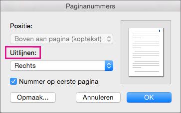 Selecteer de uitlijning voor paginanummers