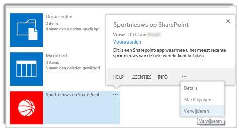 schermafbeelding van de opdracht verwijderen in het eigenschappenbijschrift voor een app.