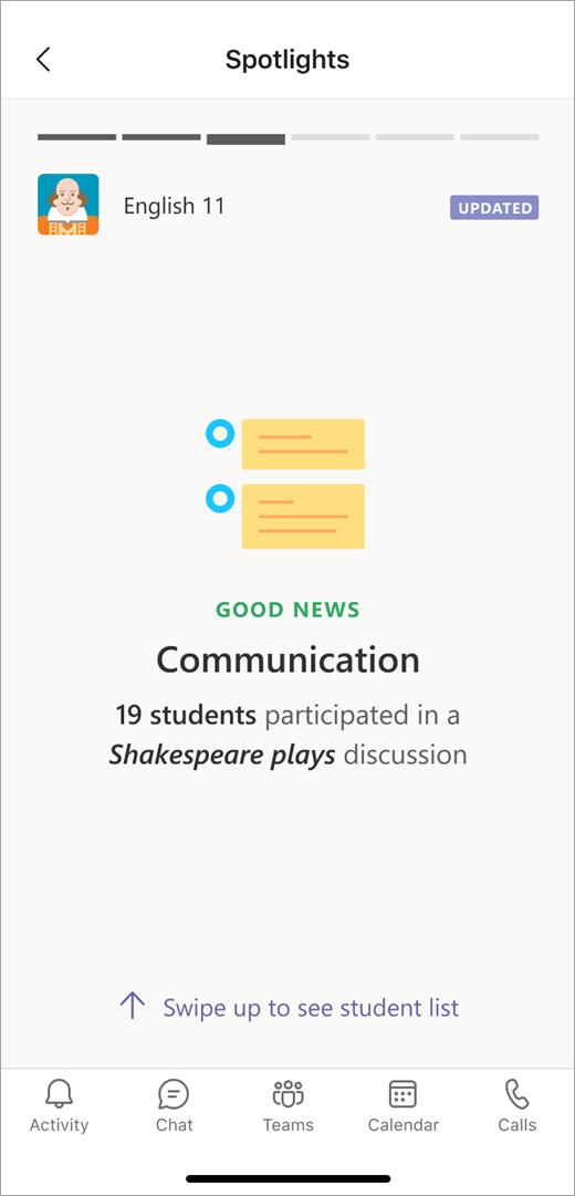 Een communicatiegegevensspot van Inzichten in mobiele weergave toont een docent die 19 leerlingen/studenten hebben deelgenomen aan een Discussie over Shakespeare.