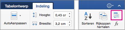 Op het tabblad invoegen is Tekst naar tabel converteren gemarkeerd