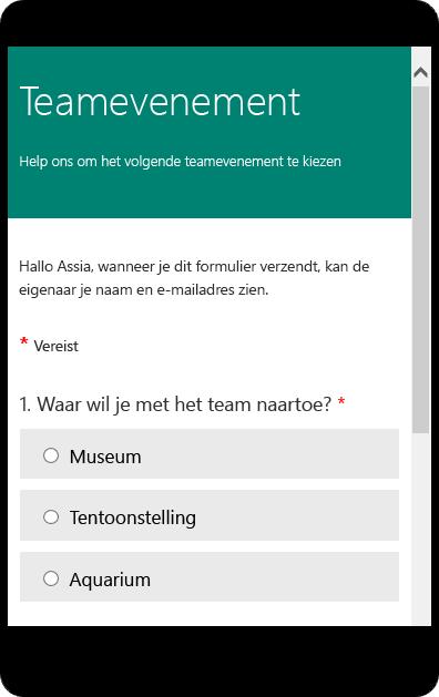 Voorbeeldmodus voor mobiele apparaten van een formulier voor een schoolenquête