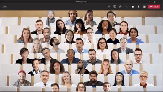 Met de modus Samenzijn verschijnt de video van iedereen in dezelfde virtuele ruimte