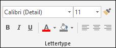 Opdrachten in de groep Lettertype in Access