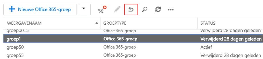 Selecteer de groep die u wilt herstellen en klik op het pictogram Herstellen.