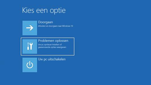 Scherm Een optie selecteren in de Windows Herstelomgeving.