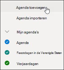 Een schermafbeelding die laat zien hoe u een agenda toevoegen