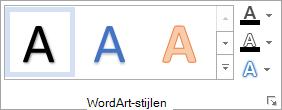 De groep WordArt-stijlen