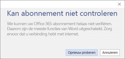 Schermafbeelding van het foutbericht 'Abonnement is niet geverifieerd'